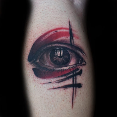 eye with brush stroke 東京都目黒のタトゥースタジオ spin tattoo